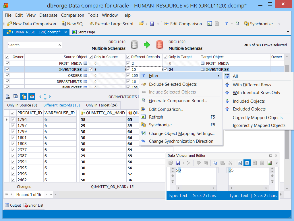 Data Comparison And Analysis Data Comparing Data Oracle