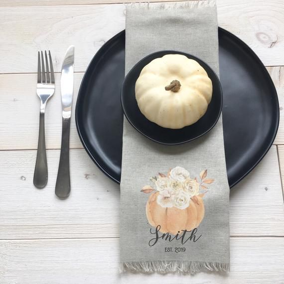 Personalized Thanksgiving Dinner Napkins, Farmhouse Table Setting, Custom Housewarming Gift, Pumpkin #thanksgivingdinnertable