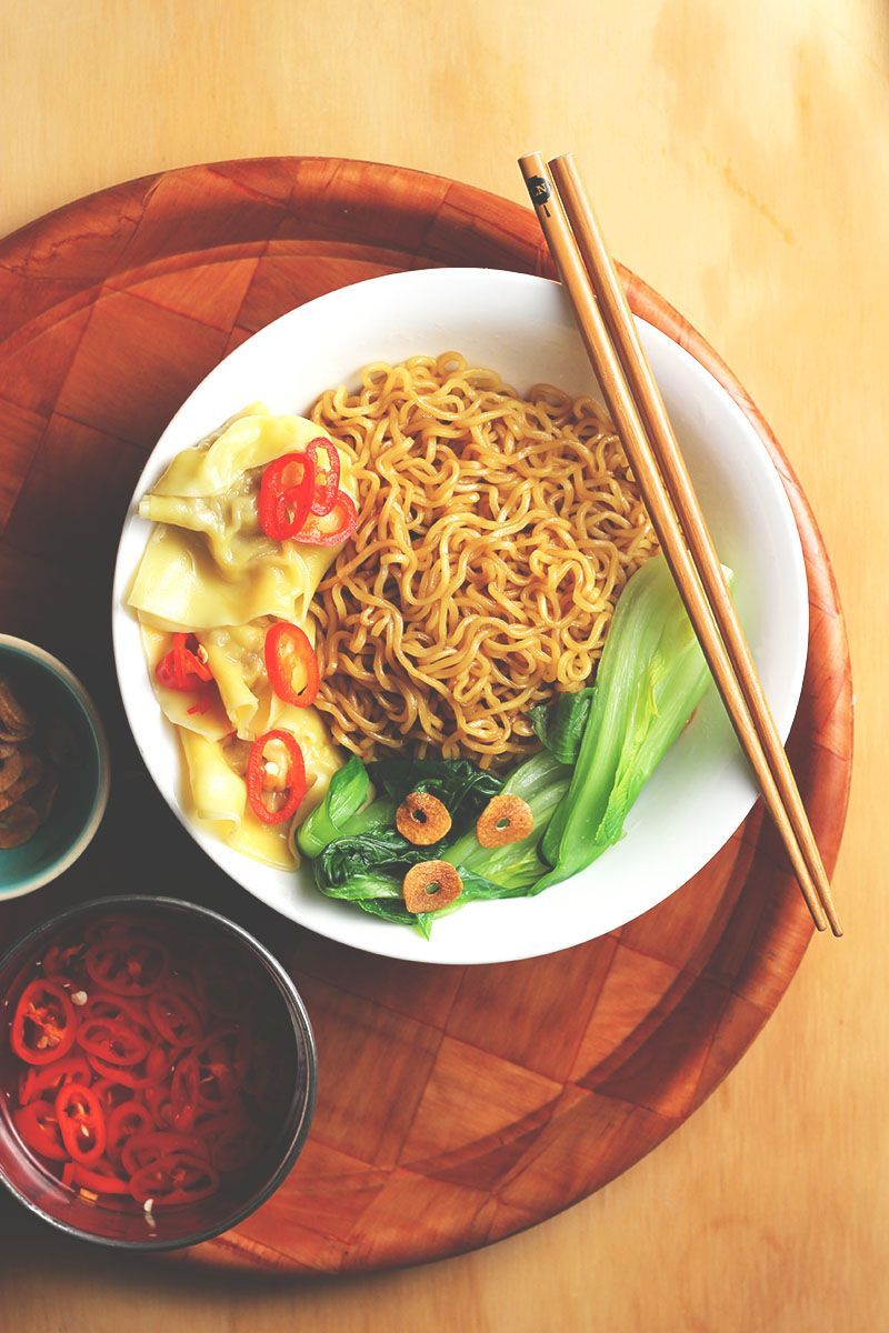 Wantan Mee = saucy noodles / silky wantans / tender greens / pickled chillies!   The Sugar Hit