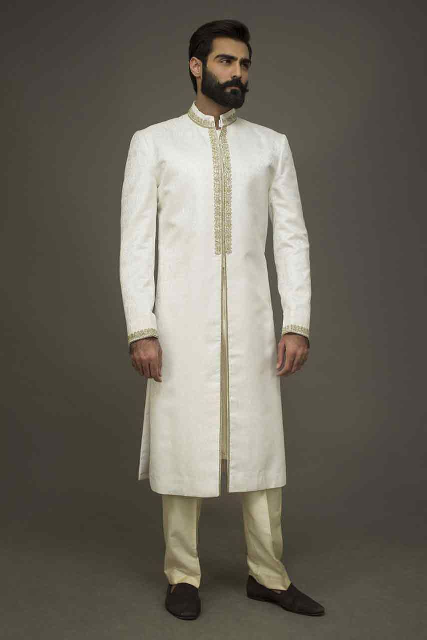White Mehndi Outfits : Wedding sherwani designs for mehndi in