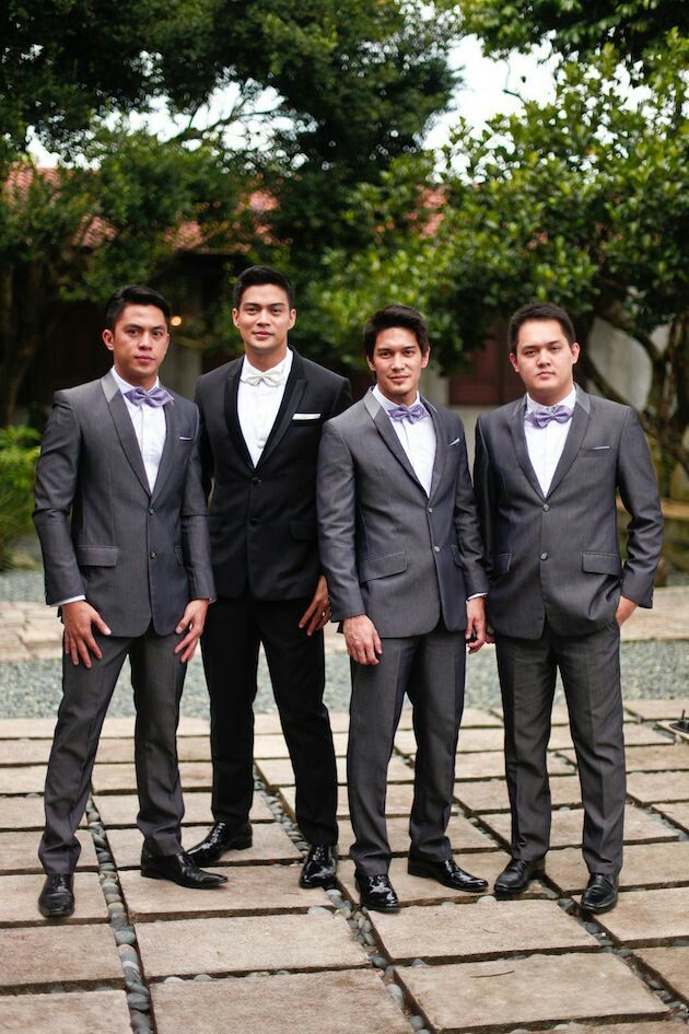 quality first classic style attractive colour Black tux for groom and grey for groomsmen | Wedding Ideas ...
