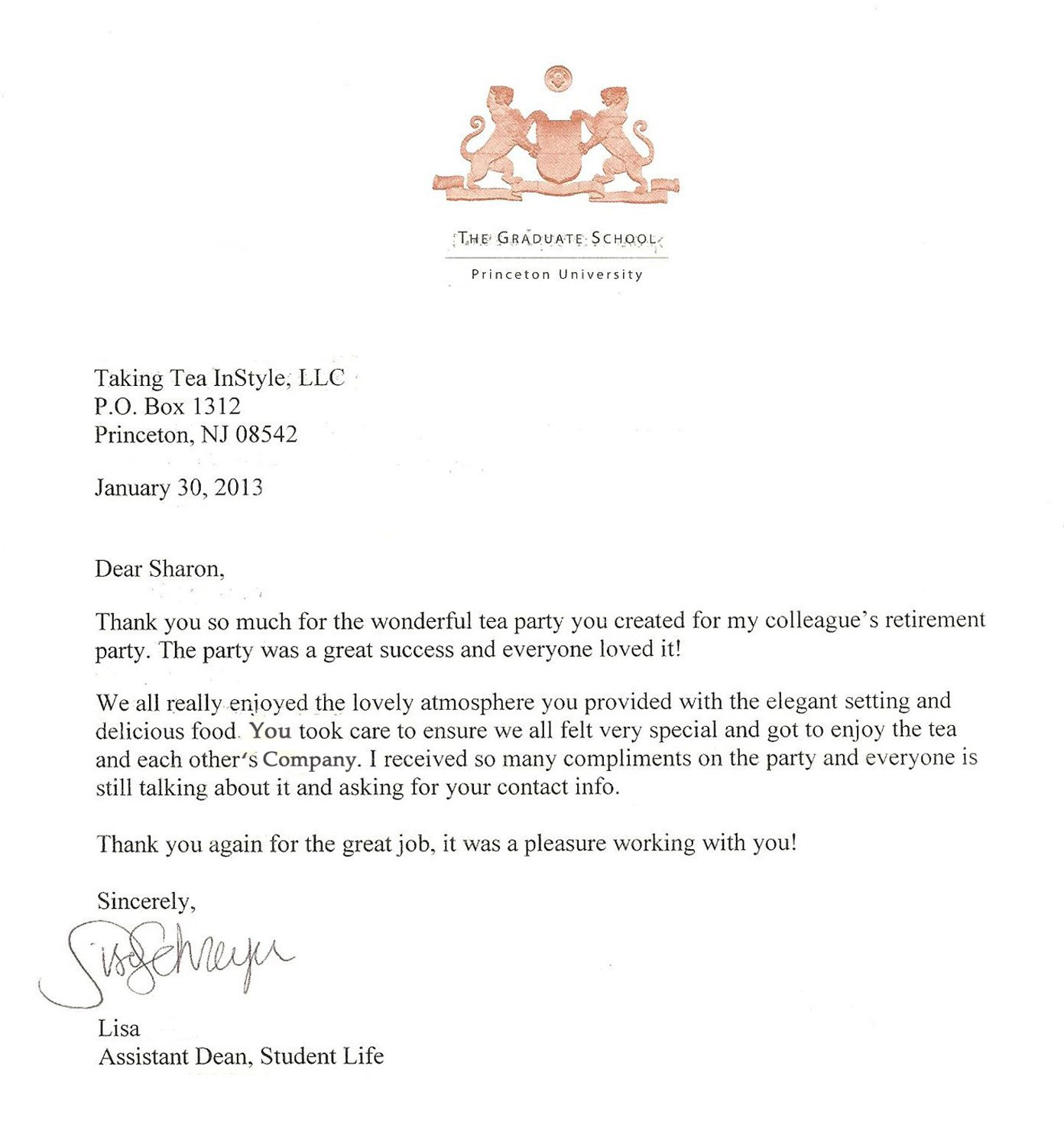 Thank You Letter From Our Client Lisa Princeton University For