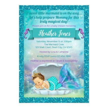 Adorable Mermaid Baby Shower Invitations 130 Light Mermaid baby