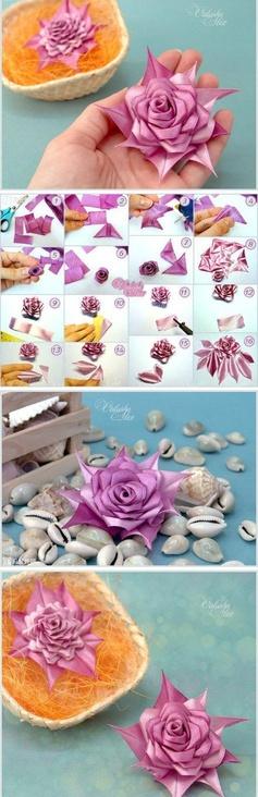 diy beautiful modular ribbon rose   Crafts Tutorials Blog - Ideas For Crafts