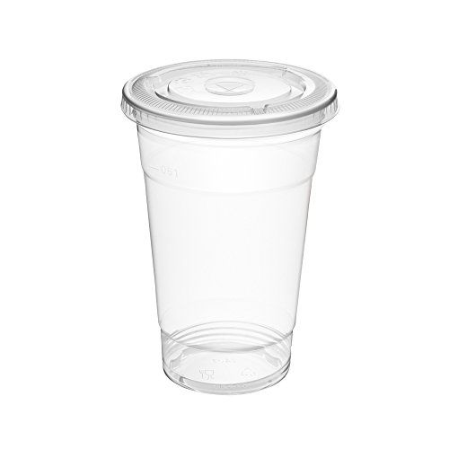 Clear Plastic Cups with Flat Lids 100 Count 16 Ounce Disposable Party Drinks