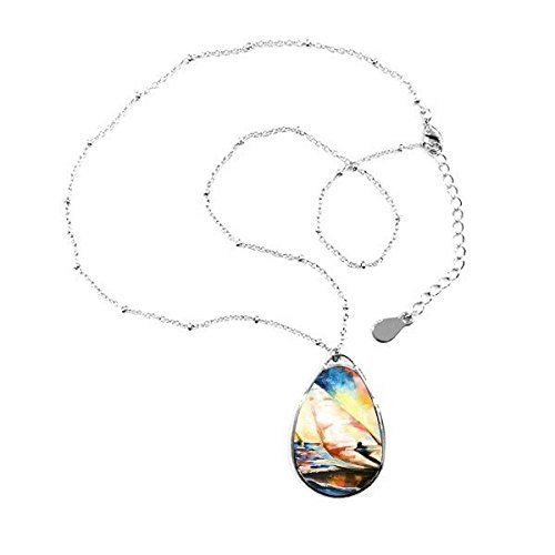 Photo of DIYthinker colorful oil painting sea ocean sailboat surfing abstract landscape illustration pattern teardrop shape pendant necklace jewelry with chain decoration gift