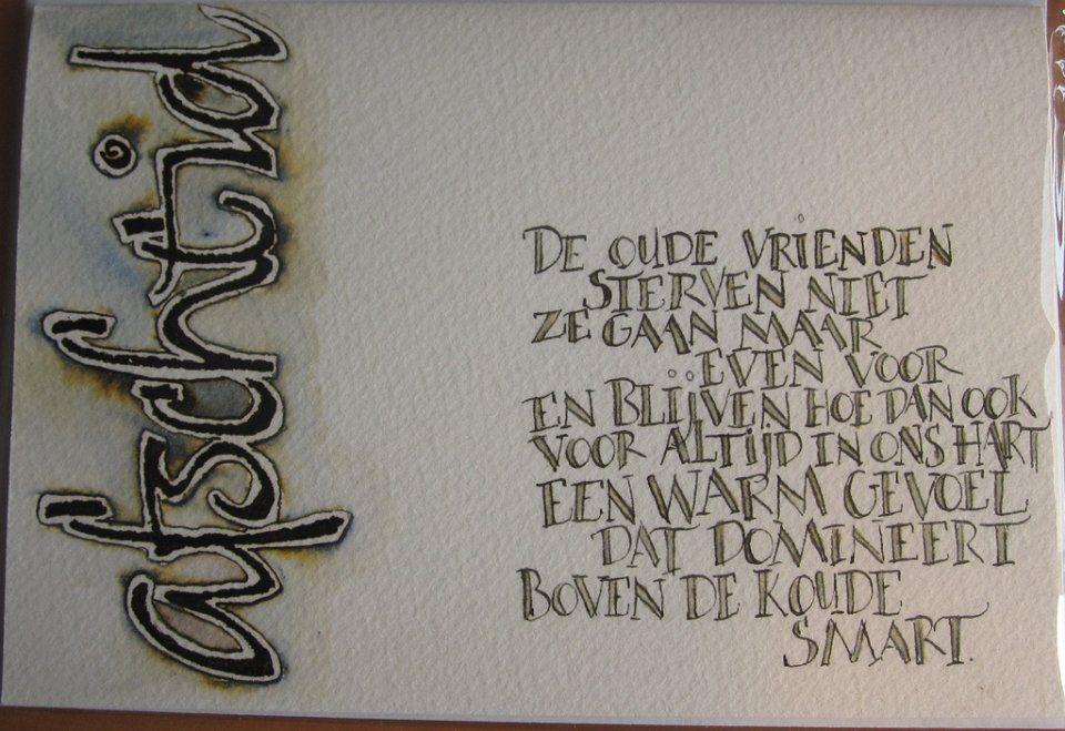 Citaten Met Schrijven : Wenskaarten rouwkaarten pinterest kalligrafie rouw