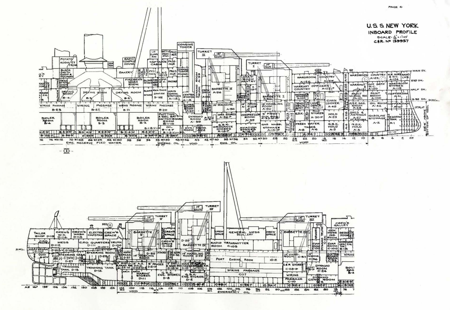 uss new york bb34 inboard profile plans drawings blueprints  http://maritime org