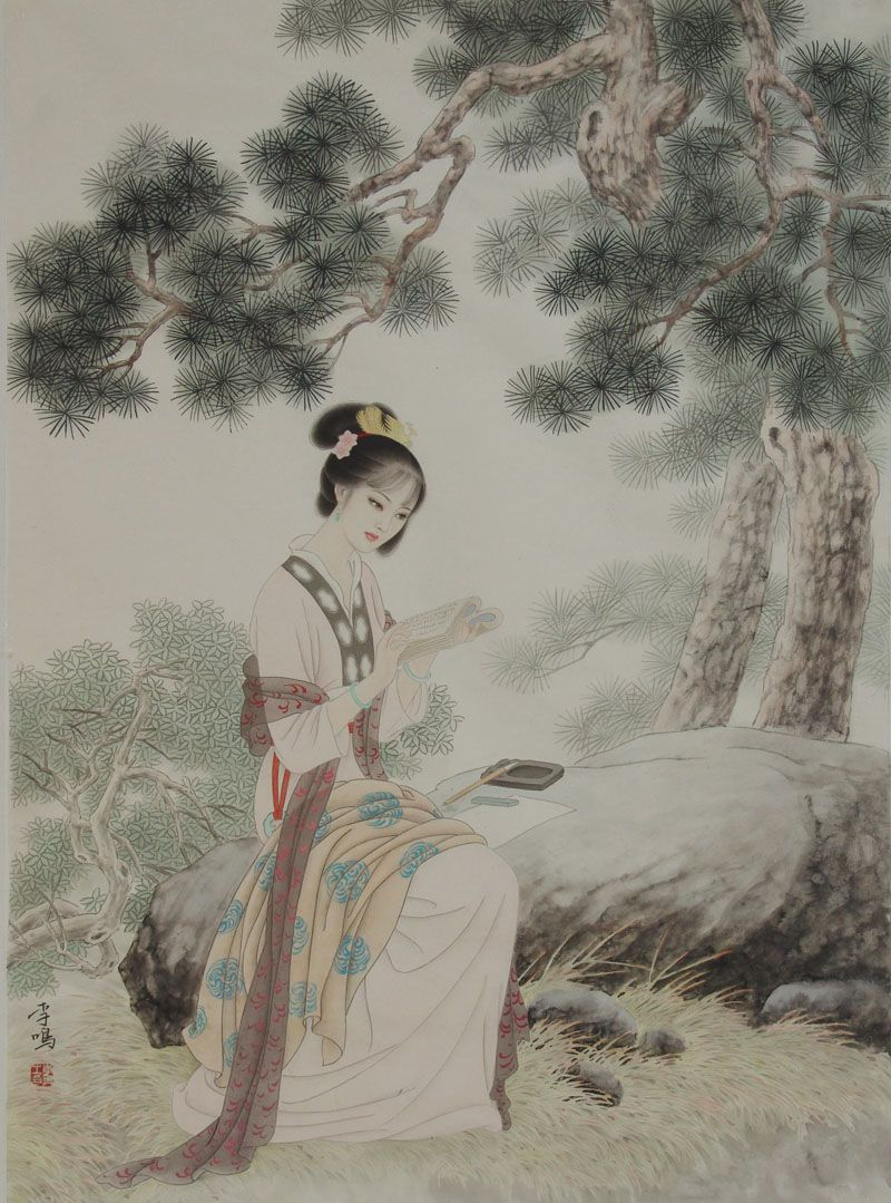 Li Ming Ink On Paper Ancient Beauties Pinterest Estampe