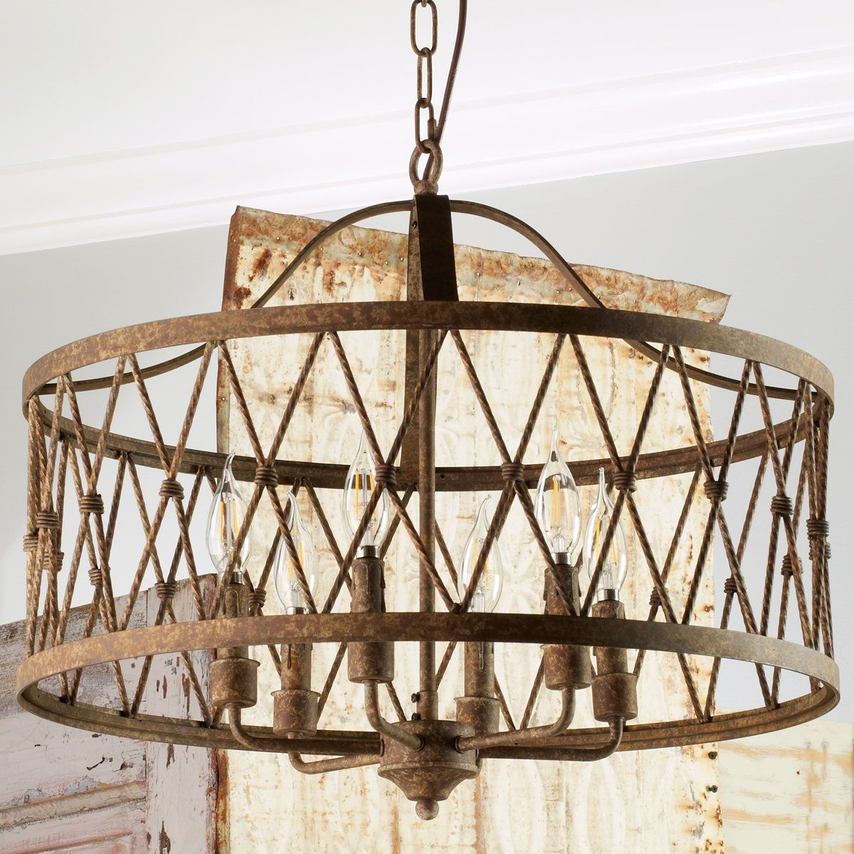 Check out faded rustic drum cage chandelier 6 light from shades of check out faded rustic drum cage chandelier 6 light from shades of light aloadofball Choice Image