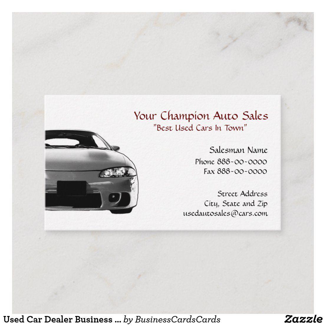Used Car Dealer Business Card Zazzle Com Used Car Dealer Car Dealer Used Cars
