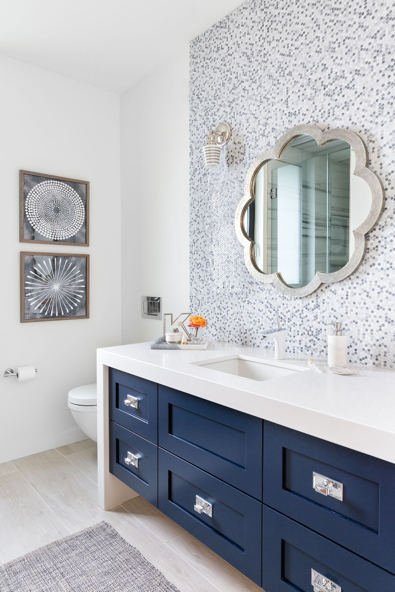 Girls Ensuite Bathroom Navy Vanity With Shades Of Grey And White Penny Round Backsplash Flowe Bathroom Remodel Cost Ensuite Bathrooms Bathroom Remodel Master
