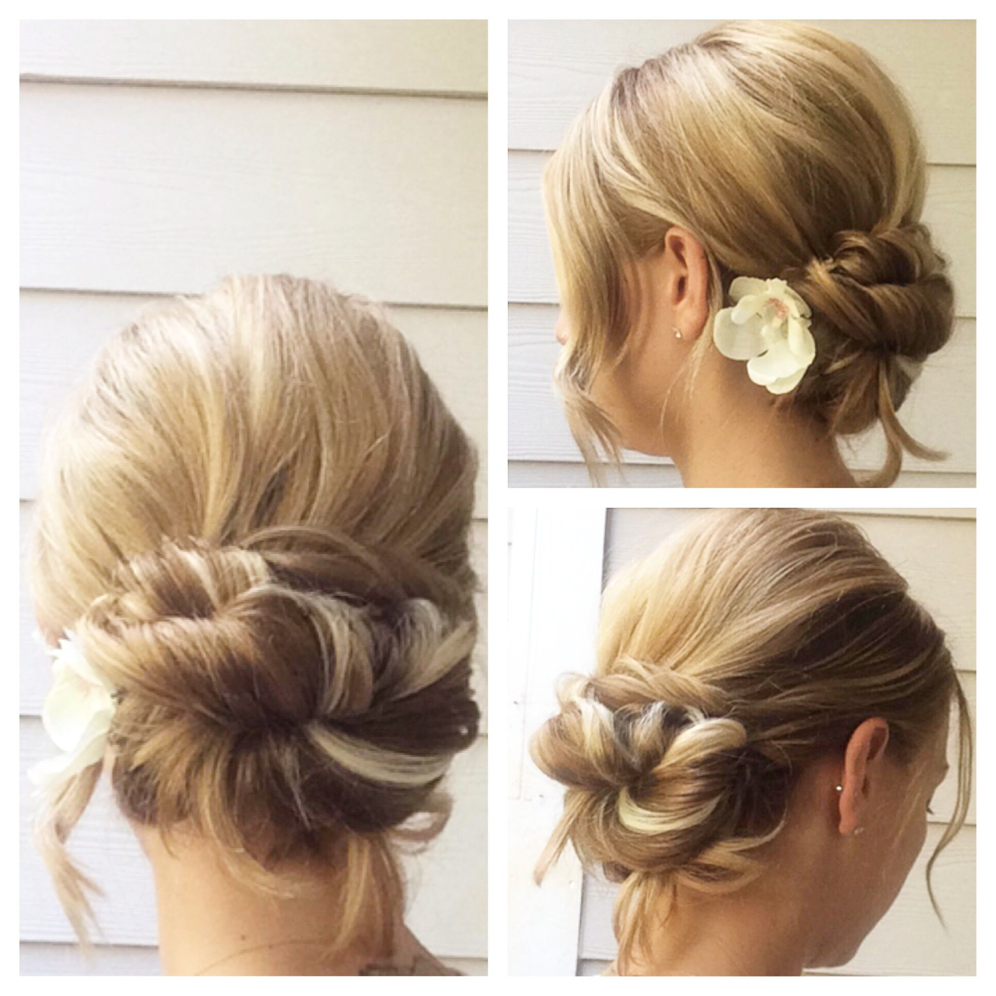 simple, sweet low bun updo freelance bridal hairstylist servicing