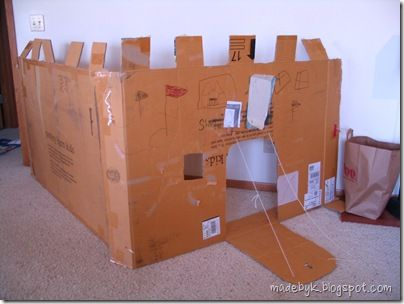 Made by k how to make a cardboard castle grandkids for Castle made out of cardboard boxes