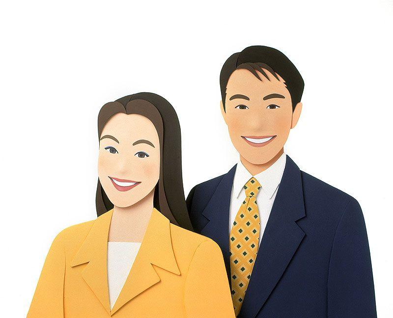 ビジネスイラスト ビジネスマンの会社員男女がビジネススーツを着た