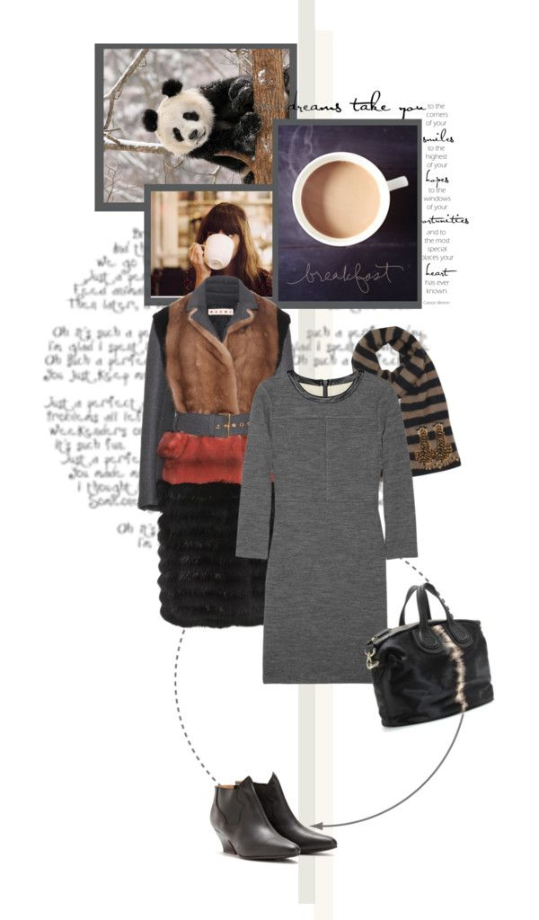 """""""J Brand Dyan leather-trimmed fleece dress"""" by mrs-box ❤ liked on Polyvore"""