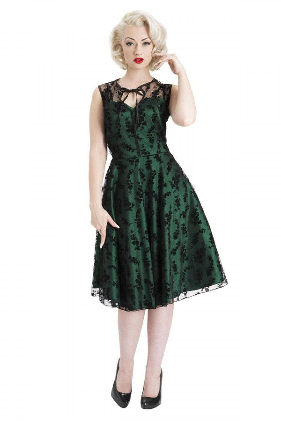 Green dress with lace overlay  Womenus Flocked Floral Overlay Flair Dress  Green  Christmas List