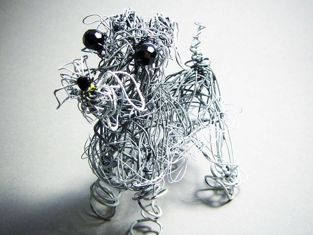 Miniature Schnauzer Handmade Free-Form Wire Skeleton Wrapped with ...