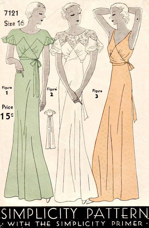 1930\'s Vintage Art Deco Evening Dress by VintageNeedleFinds on Etsy ...