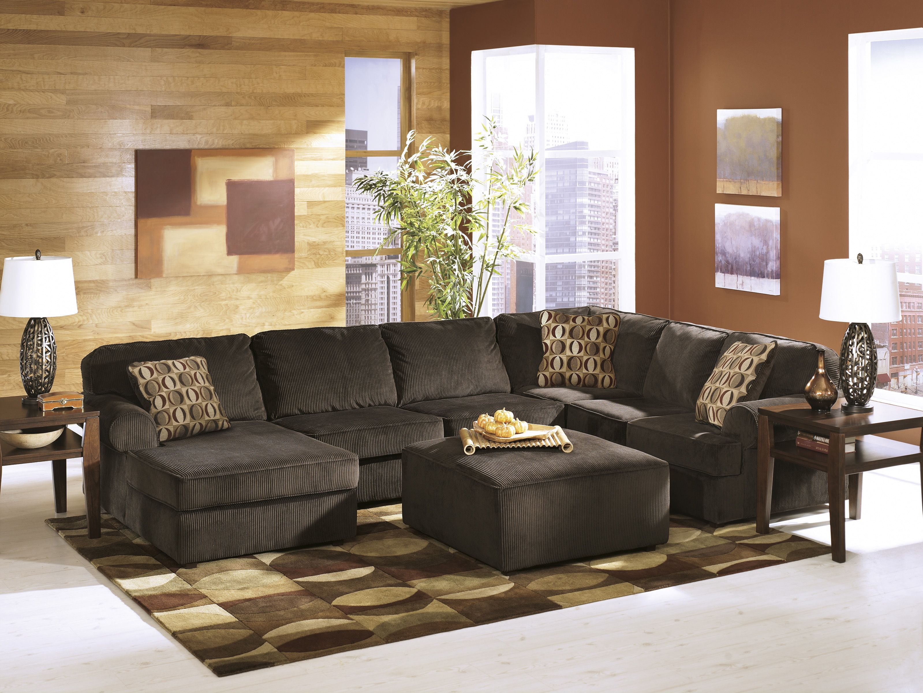 The Vista sectional pictured w oversized ottoman and Deegan