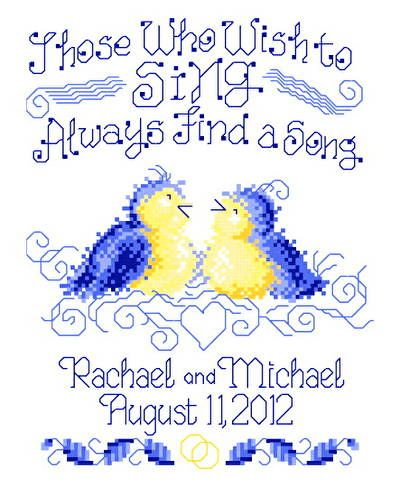Find A Song Wedding - cross stitch pattern designed by Ursula Michael. Category: Wedding.