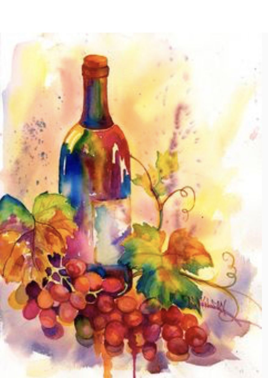 Fruit By Diana Jackson Wine Painting Watercolor Wine Art Wine Art