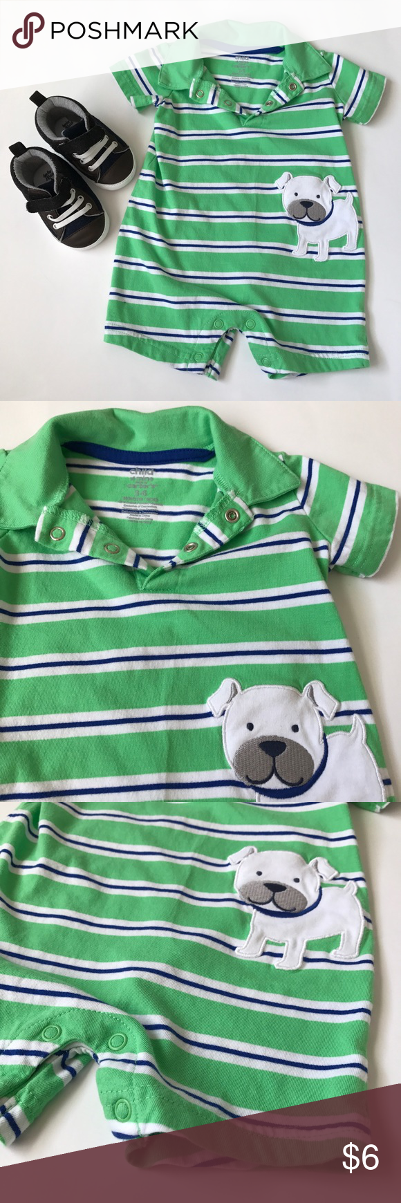Me and my doggy fit Child of Mine one piece with a cute dog character. Blue and white stripes over a lime green. Collared with a 2 button snap cluster at the chest and 4 button snap closure at the legs. Washed in Dreft hypoallergenic detergent. EUC.  Size: 3-6 months Child of Mine One Pieces
