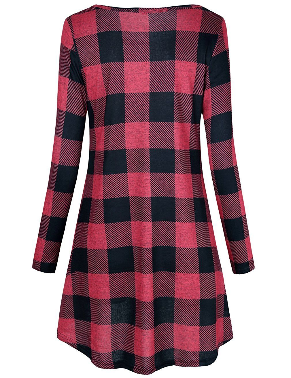 24539343b FANSIC Women Casual Long Sleeve Loose Checkered Plaid Swing Tunic T-Shirt  Dress With Pocket