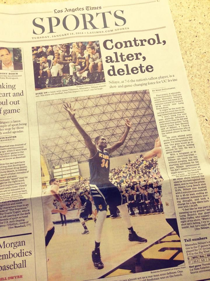 Mamadou Ndiaye Article On The Cover Of The La Times Sports Section