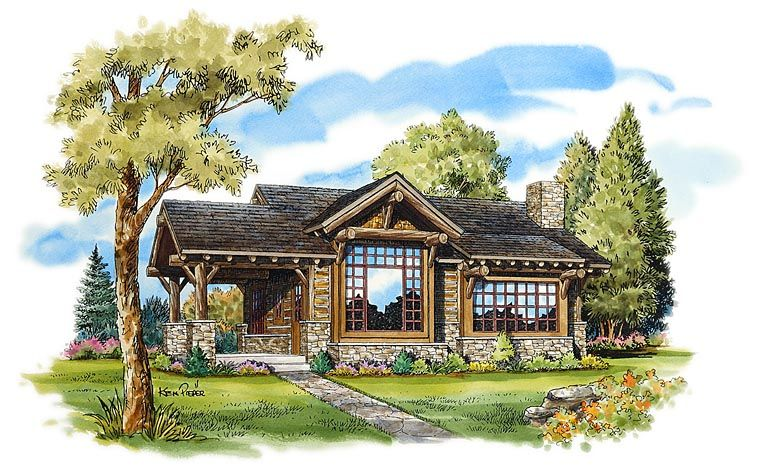 Craftsman Style House Plan 43204 With 2 Bed 2 Bath Rustic House Plans Log Cabin Floor Plans Craftsman Style House Plans