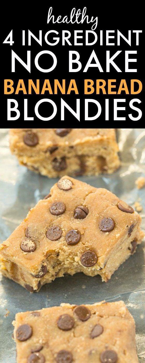 Healthy FOUR ingredient No Bake Banana Bread Blondies- Quick and easy recipe- on...   - Food -