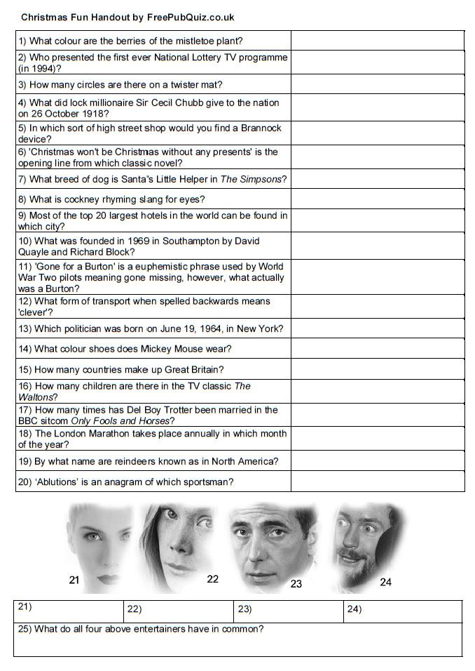 Quick Pub Quiz Questions! Free Quiz Handout perfect for a
