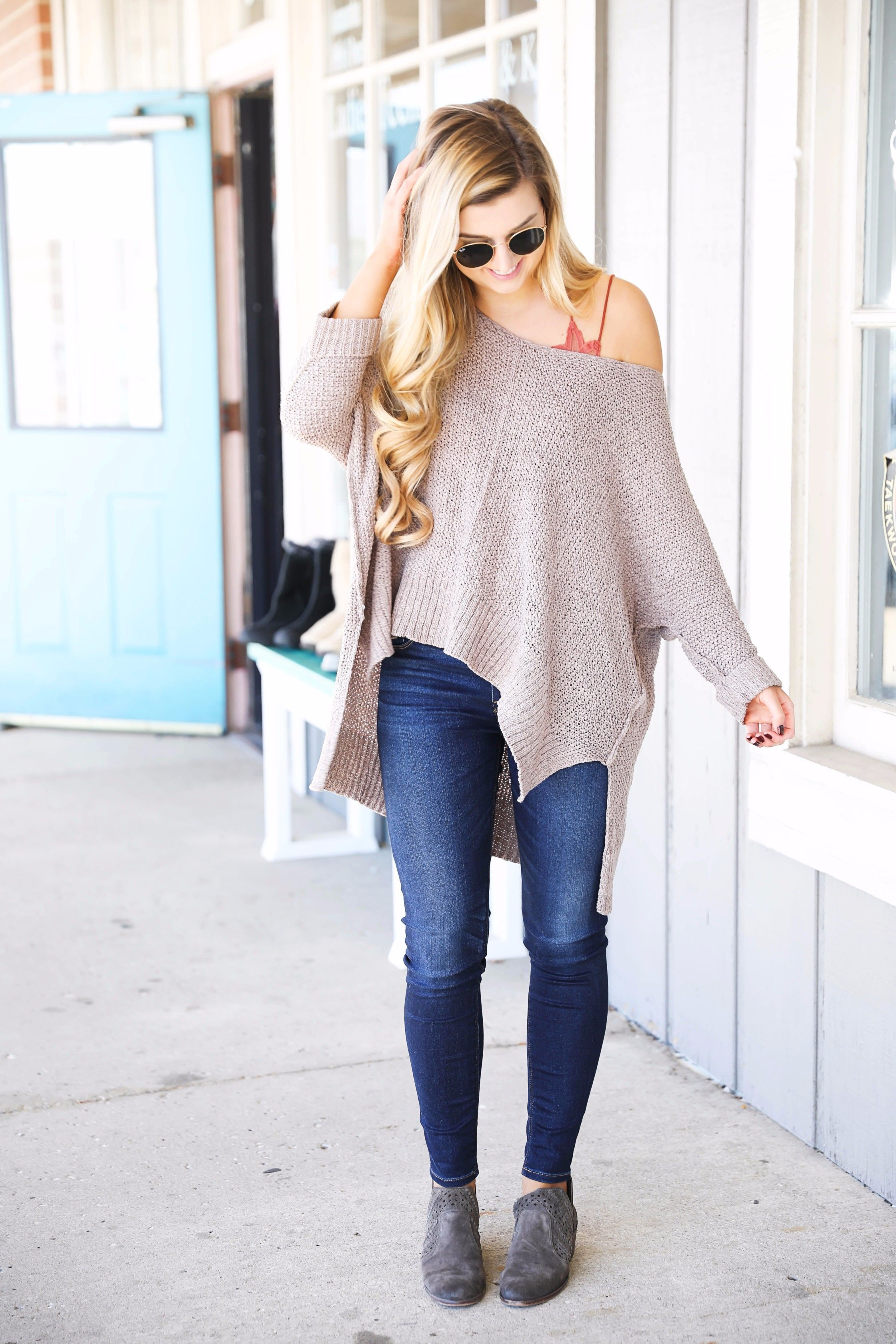 f2c93a4b3e Slouchy off the shoulder sweater with a lace free people bralette! Super  cute fall outfit for casual days or can be dressed up!