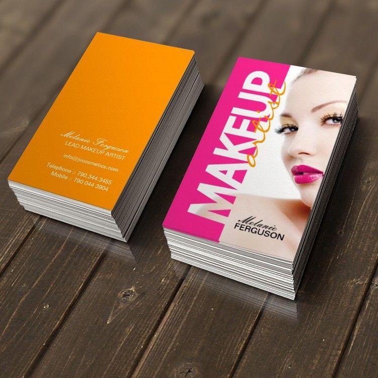 Bold makeup artist business card makeup