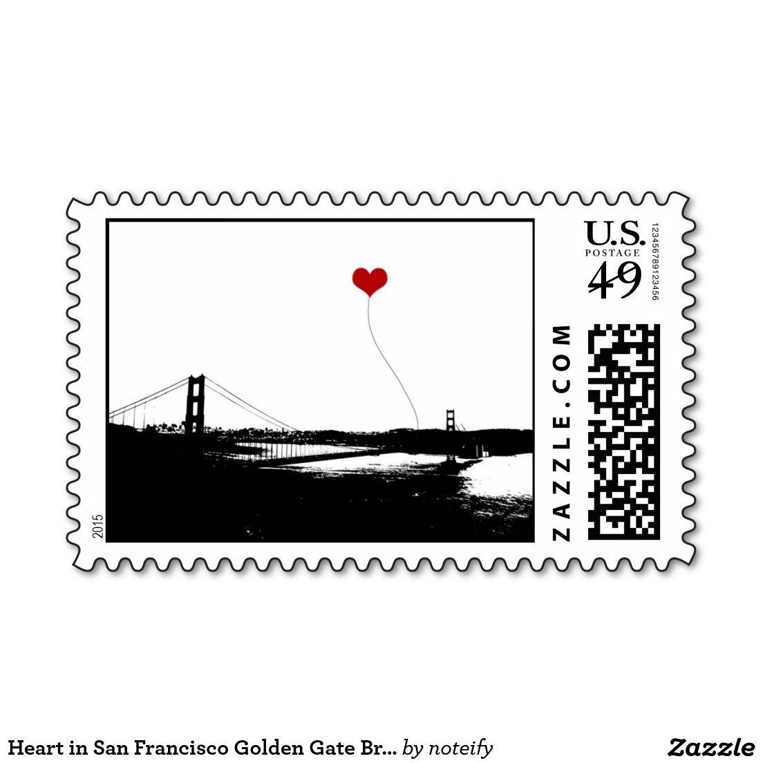 Heart In San Francisco Golden Gate Bridge Postage