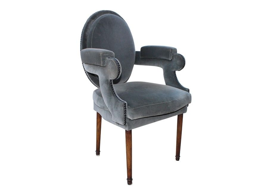blue velvet upholstered dining chair with nail head trim | via rummage home