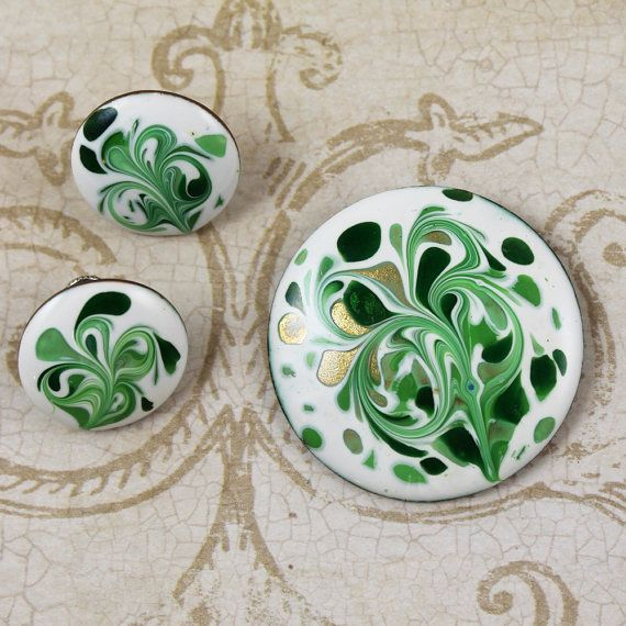 Hand Made Ceramic Gold Tone Green Swirl Oval Brooch and Earrings Set