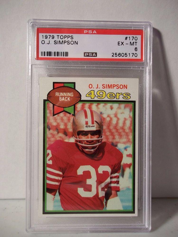 3ec9b3c1d08 1979 Topps O.J. Simpson PSA EX-MT 6 Football Card #170 NFL Collectible # SanFrancisco49ers