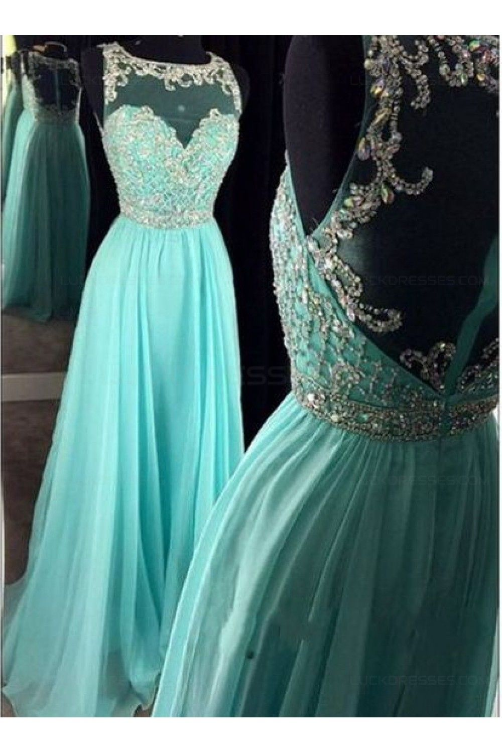 Beaded illusion neckline long blue prom dresses party evening gowns