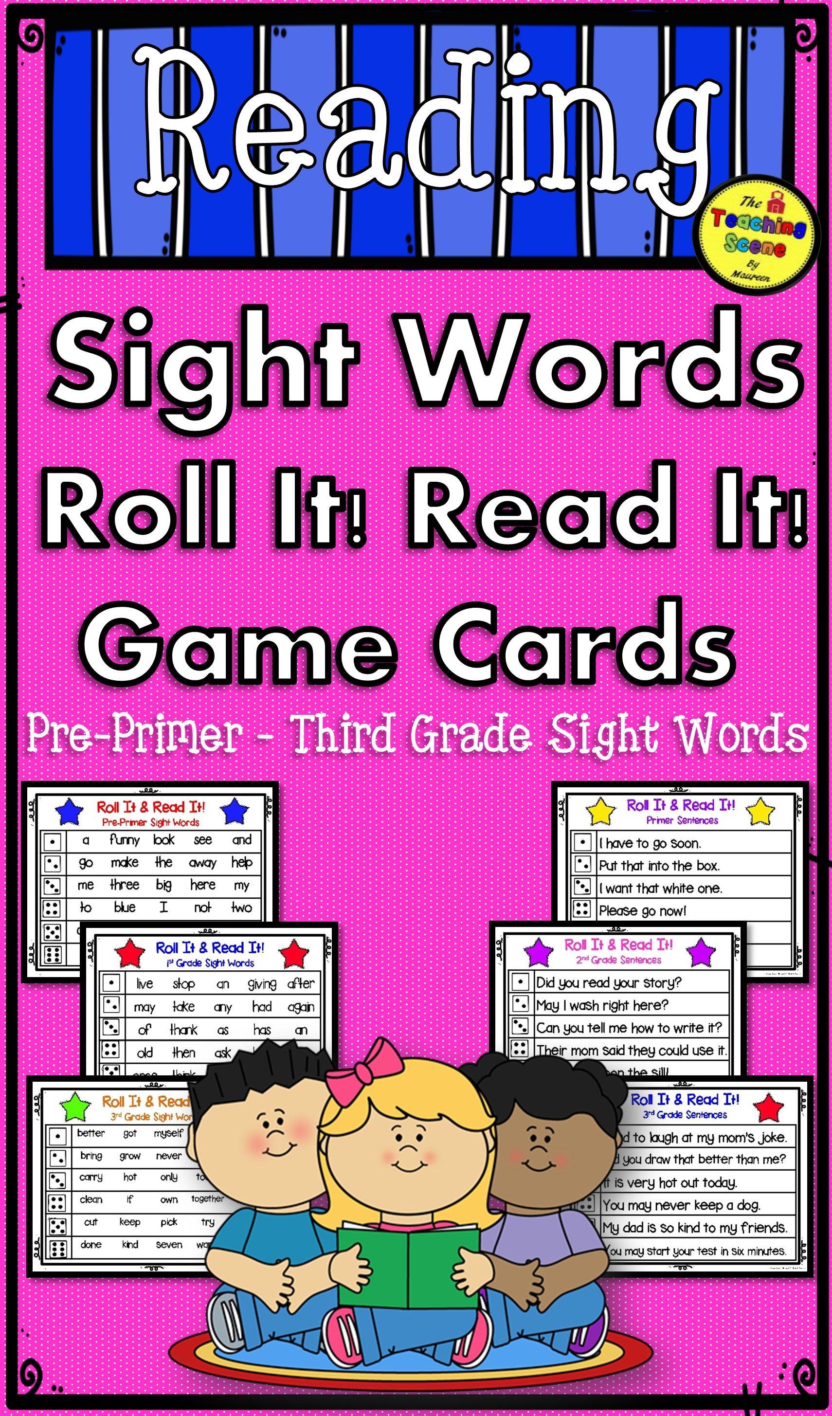 PrePrimer 3rd Grade Sight Word Read It! Roll It! Game