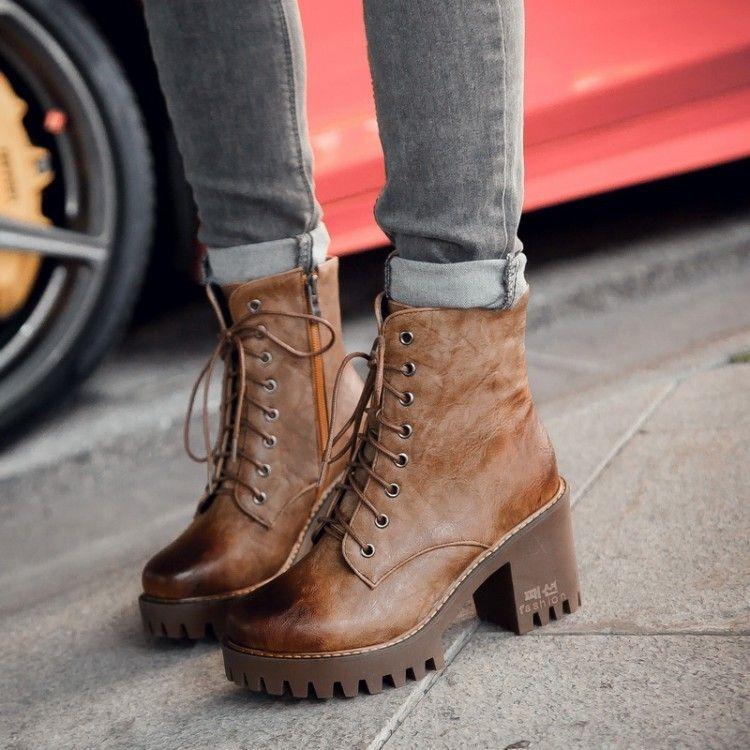 Women Warm Zipper Round Head Wear Resistant Martin Boots Thick Heel Fashion