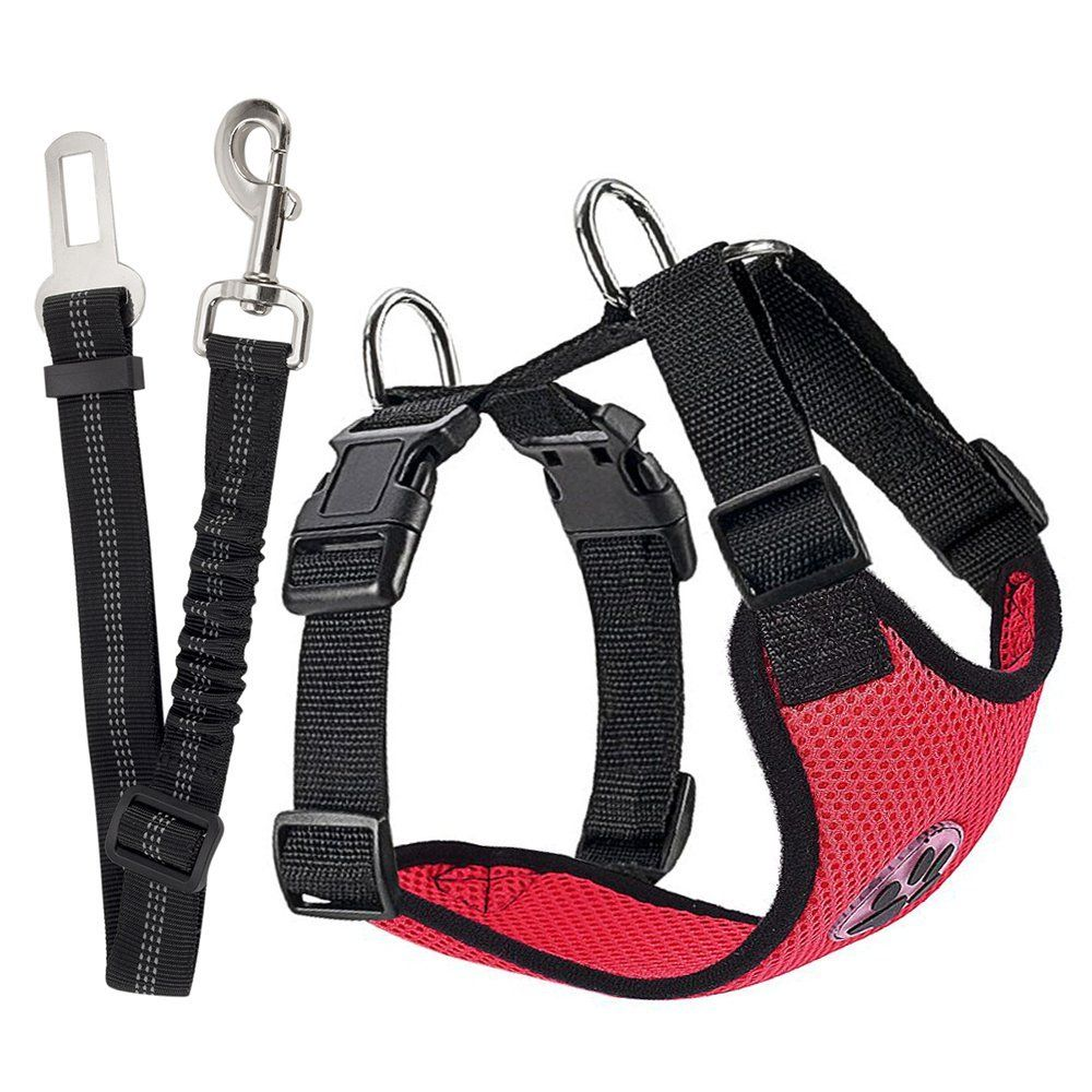 Nasus Dog Car Harness Plus Connector Strap, Adjustable