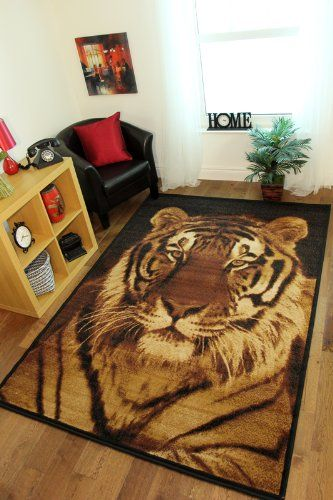 Milan Black, Gold & Beige Tiger Print Area Rug 6820-B51 - 4 Sizes ...