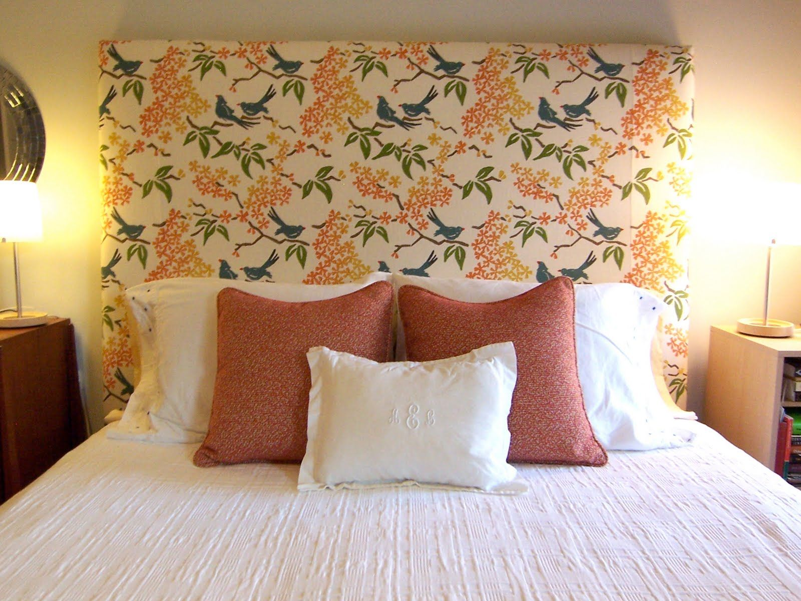 Ordinaire Accent Pillows | Orange And White Monogrammed Accent Pillows On Bed