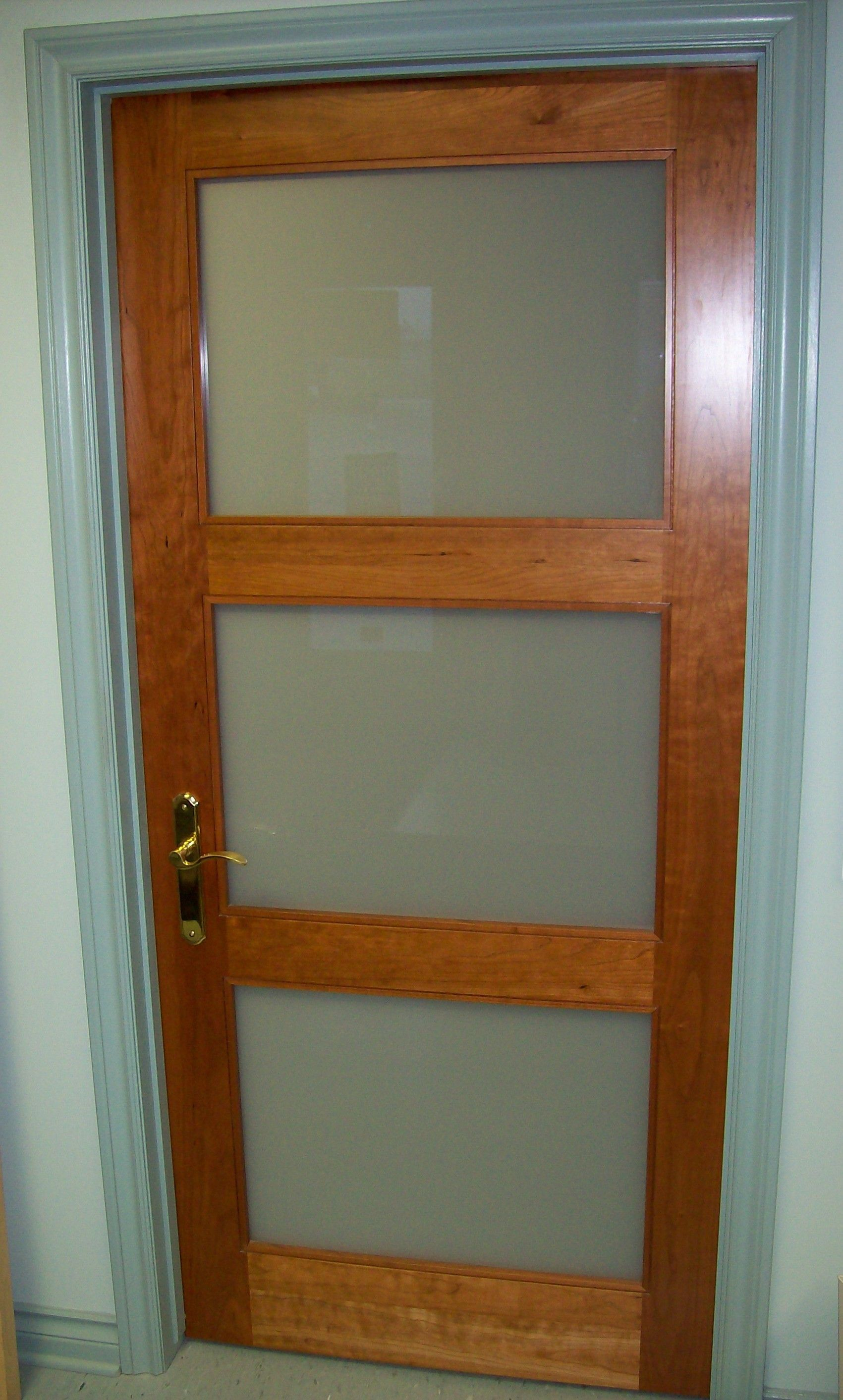 Solid Cherry, 3 Lite Shaker Style Door, With White Laminate Glass.