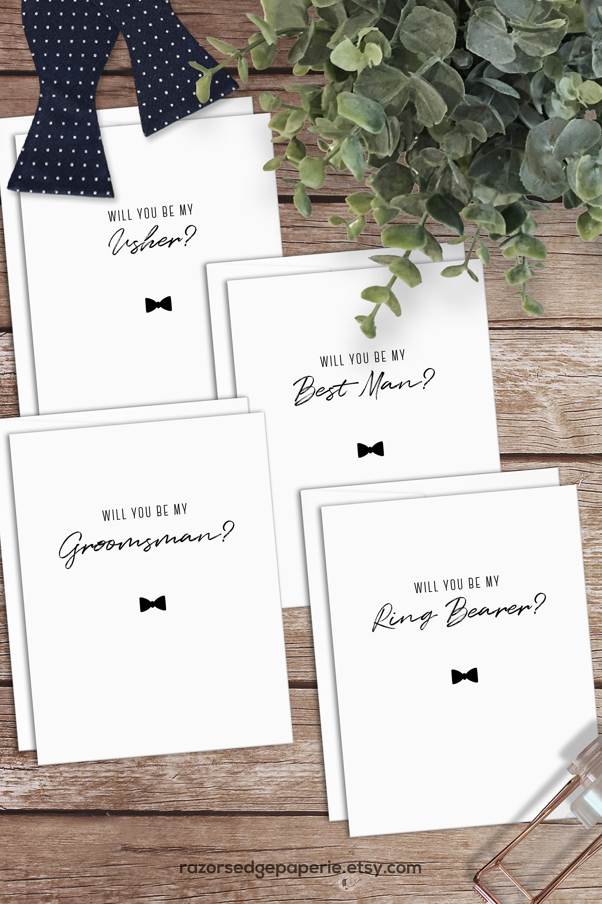 PRINTABLE Groomsman Proposal Cards INSTANT DOWNLOAD Bowtie
