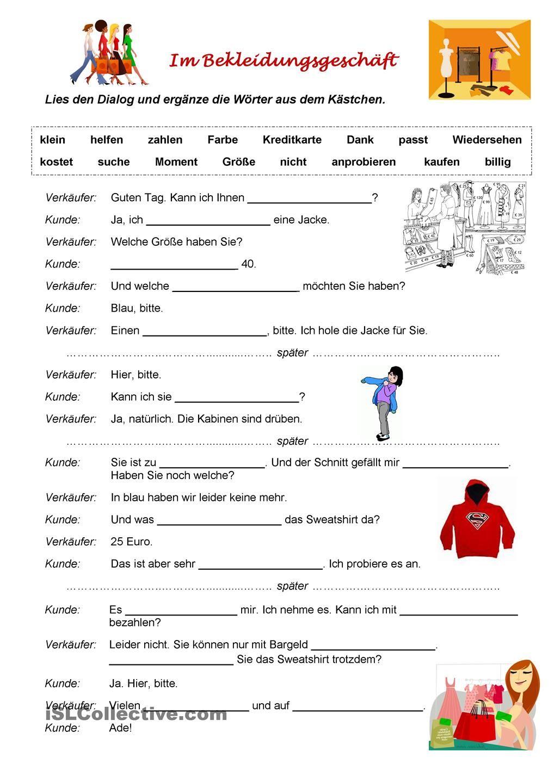 Briefe Schreiben Deutsch Als Fremdsprache übungen Für A2 Und B1 : Im bekleidungsgeschäft Übungen pinterest deutsch