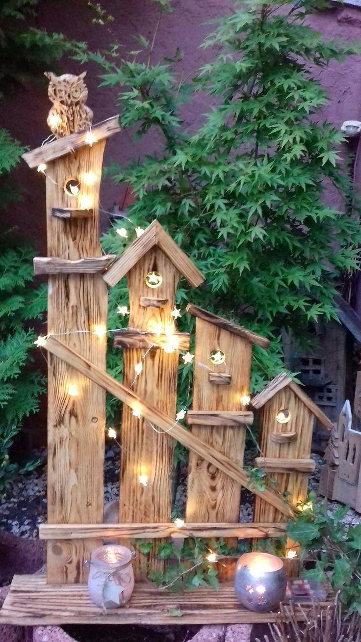 Stele DEKO owl, all year round made of WOOD, nature, garden, front door …