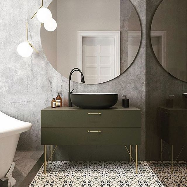 Concrete Walls And A Mirror That Would Make Any Narcissist Jump For Joy Our Wire H Bathroom Inspiration Modern Bathroom Interior Design Modern Bathroom Design