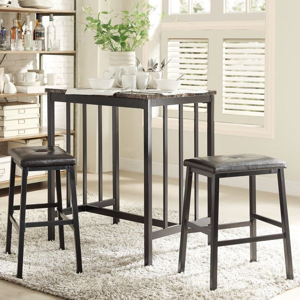 Awesome Darcy Faux Marble Top Black Metal 3 Piece Counter Height Dining Set By  INSPIRE Q Bold By INSPIRE Q